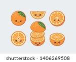 orange cute kawaii mascot. set... | Shutterstock .eps vector #1406269508