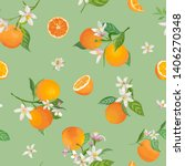 seamless orange pattern with... | Shutterstock .eps vector #1406270348