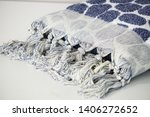 folded plaid cloth with tassels ... | Shutterstock . vector #1406272652