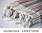 folded plaid cloth with tassels ... | Shutterstock . vector #1406272658