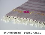 folded plaid cloth with tassels ... | Shutterstock . vector #1406272682