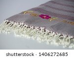 folded plaid cloth with tassels ... | Shutterstock . vector #1406272685