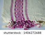 folded plaid cloth with tassels ... | Shutterstock . vector #1406272688