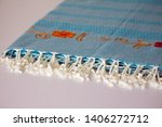 folded plaid cloth with tassels ... | Shutterstock . vector #1406272712