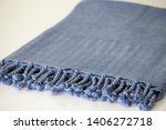 folded plaid cloth with tassels ... | Shutterstock . vector #1406272718