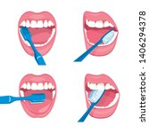 set of vector mouth on a white... | Shutterstock .eps vector #1406294378