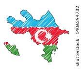 azerbaijan map hand drawn... | Shutterstock .eps vector #1406294732