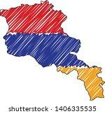 armenia map hand drawn sketch.... | Shutterstock .eps vector #1406335535