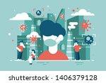 virus attacks people vector... | Shutterstock .eps vector #1406379128