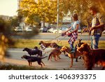 Stock photo girl and man dog walker with dogs enjoying in walk outdoors 1406393375