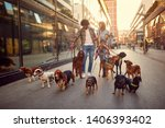 Stock photo smiling girl and man dog walker in the street with lots of dogs 1406393402