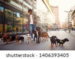 Stock photo smiling professional dog walker man in the street with lots of dogs 1406393405