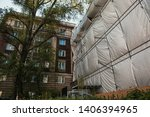 the old building on the... | Shutterstock . vector #1406394965