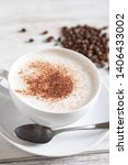 cappuccino on rustic white wood ... | Shutterstock . vector #1406433002