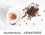 cappuccino with coffee beans on ... | Shutterstock . vector #1406433005