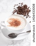 cappuccino with coffee beans on ... | Shutterstock . vector #1406433008
