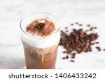 iced cappuccino with coffee bean | Shutterstock . vector #1406433242