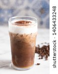 iced cappuccino with coffee bean | Shutterstock . vector #1406433248