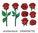 rose flower set. floral... | Shutterstock .eps vector #1406436752