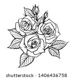 rose by hand drawing. beautiful ... | Shutterstock .eps vector #1406436758
