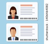 woman and man plastic id cards  ... | Shutterstock .eps vector #1406464082