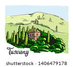 house in tuscany with mountains ... | Shutterstock .eps vector #1406479178