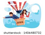 people hiring air  balloon... | Shutterstock .eps vector #1406480732