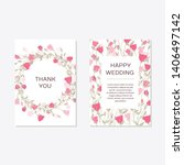 wedding invitation with rose... | Shutterstock .eps vector #1406497142