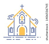 church building line icon....