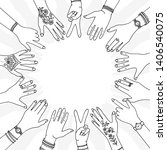 hands in a circle   hand drawn  ... | Shutterstock .eps vector #1406540075