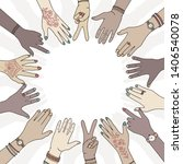 hands in a circle   hand drawn  ... | Shutterstock .eps vector #1406540078