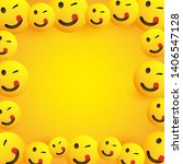 background frame with smiling ... | Shutterstock .eps vector #1406547128