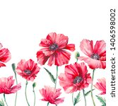 watercolor seamless border with ... | Shutterstock . vector #1406598002