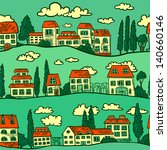 seamless pattern with houses on ... | Shutterstock .eps vector #140660146