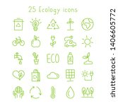 ecology line icons set isolated ... | Shutterstock .eps vector #1406605772