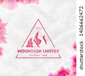 Lhotse logo. Triangular mountain red vector insignia. Lhotse in Himalayas, Nepal outdoor adventure illustration. Climbing, trekking, hiking, mountaineering and other extreme activities logo template.