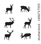 isolated deers on the white... | Shutterstock .eps vector #1406717555
