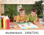 two preschoolers and colorful...   Shutterstock . vector #14067241