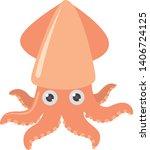 cartoon squid on white...   Shutterstock .eps vector #1406724125