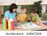 teacher two preschoolers and... | Shutterstock . vector #14067244
