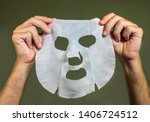 man hands holding beauty paper... | Shutterstock . vector #1406724512