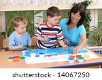 teacher two preschoolers and... | Shutterstock . vector #14067250