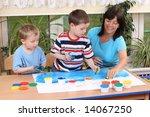 teacher two preschoolers and... | Shutterstock . vector #14067250