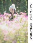 portrait of happy asian young... | Shutterstock . vector #1406750492