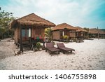Huts For Living On White Sand...
