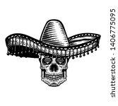 mexican sugar skull in sombrero.... | Shutterstock . vector #1406775095