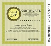 yellow certificate diploma or... | Shutterstock .eps vector #1406776445