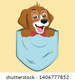 beagle pocket peek over a pocket | Shutterstock .eps vector #1406777852