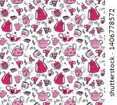 pattern with pink teapots and... | Shutterstock .eps vector #1406778572