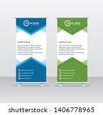 roll up banner background... | Shutterstock .eps vector #1406778965
